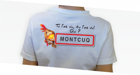 ---></a>   T-shirt Enfant Tu l'as vu qui Montcuq